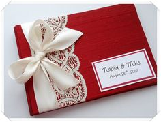 Red Wedding Guest Book You Choose Bow Color by EnvelopeGuestBooks, $42.00