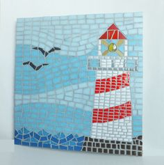 Lighthouse Mosaic Wall Art Nautical home decor by MollycatMosaics Mosaic Wall Art, Mosaic Diy, Mosaic Garden, Mosaic Crafts, Mosaic Projects, Tile Art, Mosaic Tiles, Mosaics, Painting Tiles