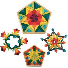Lotus Pentagon, Large Wooden Block Puzzle U$79.98