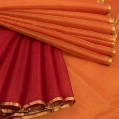 Ghanshyam Sarode Orange & Maroon Handwoven Kota Silk Saree 10009093 - AVISHYA.COM