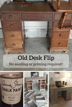 One garage sale find turned stunning show-stopper! This old desk went from trash to treasure with a little bit of Annie Sloan Chalk Paint! See the process and get the tips on Splendry!