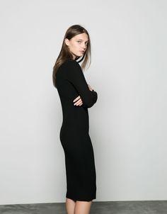 Bershka long fitted ribbed dress - Bershka Recommends - Bershka United Kingdom