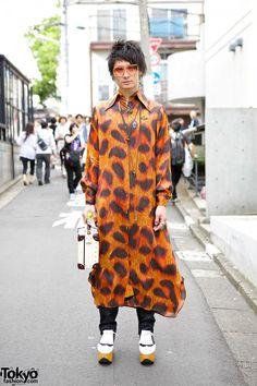 Vivienne Westwood Style in Harajuku w/ Leopard Shirt, Suitcase Bag & Rocking Horse Shoes