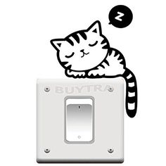 Cute Cat Nap Pet Light Switch Funny Wall Decal Vinyl Sticker Home Decoration Kids Room Wall Stickers, Kids Stickers, Wall Stickers Murals, Wall Decal Sticker, Vinyl Decals, Kids Room Lighting, Cat Light, Decoration Stickers, Cute Black Cats