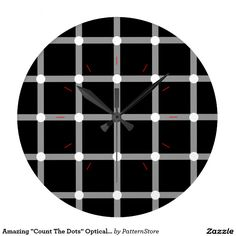 """Amazing """"Count The Dots"""" Optical Illusion Pattern Wallclocks from Modern Clock, Optical Illusions, Count, Dots, Black And White, Amazing, Pattern, Design, Stitches"""