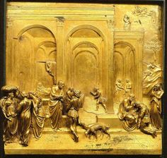 """Detail from """"Story of Jacob and Esau """", a panel in the famous doors of the Baptistry of San Giovanni by Lorenzo Ghiberti, Florence, Italy. """"The finest panel."""" The winner, by general consensus, over the centuries had been Jacob and Esau—the central panel of the left-hand column—chosen allegedly for the impressive number of artistic methods used in its making""""."""