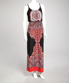 Take a look at this Black & Coral Maxi Dress by Bailey Blue on #zulily today!