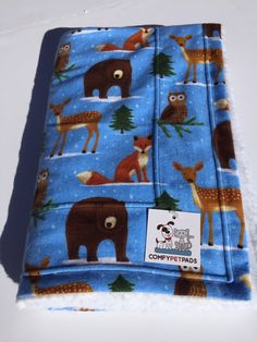Bear Blanket, Dog Bedding, Pet Blanket, Bear Baby Blanket, Owl Fox Bear Deer, Puppy Bedding, Forest Pine Trees, Woodland Rustic, Blue Throws by ComfyPetPads on Etsy