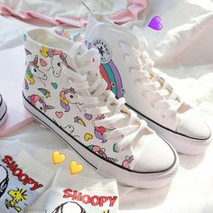 Harajuku cute rainbow unicorn hand-painted shoes · Dream castle · Online Store Powered by Storenvy Grunge Style, Soft Grunge, Painted Canvas Shoes, Hand Painted Shoes, Painted Sneakers, Sock Shoes, Kid Shoes, Vans Shoes, Cyberpunk