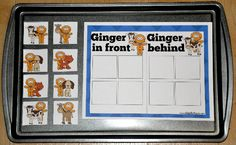 The Gingerbread Man:  In Front/Behind Sort Cookie Sheet Activity focuses on positional concepts.  In this activity, students sort the Gingerbread Man by position:  whether he is in front, or behind another character from the story.  Cookie sheet activities work well in both learning centers and independent workstations. Early Learning Activities, Learning Centers, Preschool Activities, Cookie Sheet Activities, Jan Brett, File Folder Games, Gingerbread Man, Winter Holidays, Sorting