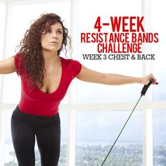 4 Week Resistance Bands Challenge- Week 3 - Chest and Week Resistance Band Resistance Band Training, Resistance Band Exercises, Strength Training, Resistance Tube, Circuit Training, Lower Ab Workouts, Easy Workouts, Chest Workouts, Workout Challenge