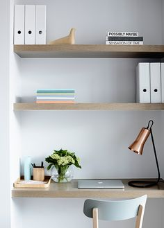 office from simple shelves