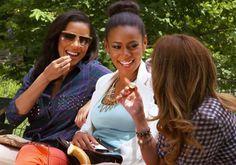 We LOVE Ashley's sock bun and Julissa's studded plaid shirt. #StyleNetwork #EmpireGirls