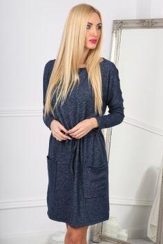 Granatowa Sukienka Wiązana w Talii 10100