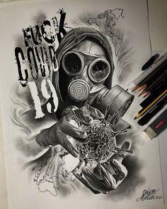 Dark Art Drawings, Tattoo Design Drawings, Tattoo Sketches, Tattoo Designs, Gas Mask Art, Masks Art, Lion Tattoo Sleeves, Sleeve Tattoos, Tattoo Mascara