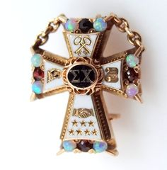 14k Gold Opals & Garnets Sigma Chi Fraternity Pin Dated 1903 Alpha Rho Chapter