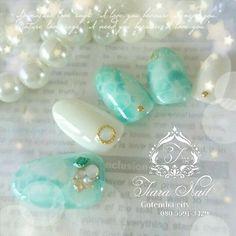 2015年流行デザイン!可愛すぎる『ドロップネイル』まとめ♡にて紹介している画像 Mint Nail Art, Mint Nails, Blue Nail, Bridal Nails, Wedding Nails, Love Nails, Pretty Nails, Nail Techniques, Japanese Nail Art