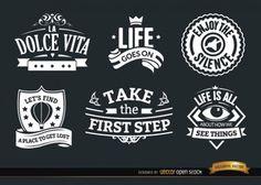 Emblemas Inspirado em conjunto estilo vintage