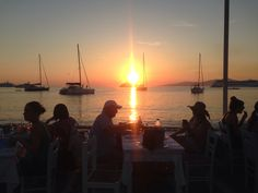 Sunset at the Little Venice in Mykonos