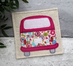 Fabric Coaster, Camper Van Coaster, VW Bus, Camper Van Gift, Pink Coaster, Travel Gift, Desk Coaster, Gift For Her by TheCornishCoasterCo on Etsy