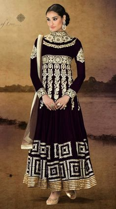 Appear as pretty as pretty can be in this eggplant embroidered velvet long Anarkali suit. The lace, patch, resham and stones work on attire personifies complete look. Long Anarkali, Anarkali Dress, Anarkali Suits, Lehenga, White Anarkali, Pakistani Suits, Abaya Fashion, India Fashion, African Fashion