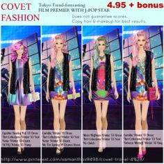 Covet Fashion - Jet Set - Tokyo trend-forecasting - Film Premier With J-Pop Star - all outfits received 4.95 (without bonus) - Copy hair and makeup for best results.