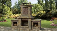 New for 2015! Cambridge's Tuscany Fully-Assembled Wood-Burning Outdoor Fireplace.