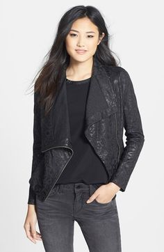 Two by Vince Camuto Print Ponte Jacket at Nordstrom.com. A lustrous shine puts the spotlight on a moto jacket cut from a printed ponte knit with an asymmetrical-zip front that looks great when casually draped open. Rib-knit side panels enhance the fit and comfort.