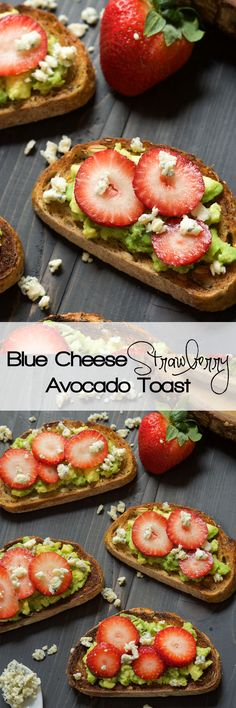 A simple, no fess appetizer that is sweet, savory and salty! Strawberry Avocado Toast with blue cheese crumbles is healthy and indulgent all in one bite and takes minutes to make!
