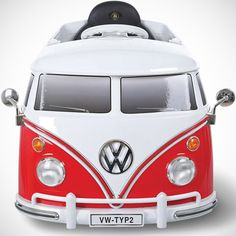 This is the electric ride-on Volkswagen bus that conveys children over driveways and sidewalks in groovy finery at 2 1/2 mph. With the distinctive features of the real-life model—twin decorative windshield wipers, bumper, folding side mirrors, and red/white trim—this ride-on is equipped with working headlights and two opening side doors. A child steers while pressing on the pedal accelerator; releasing provides instant stops. Empowering a child with the freedom of a past generation,...