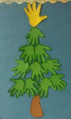 over 30 fun Christmas tree crafts for kids Handprint Christmas Tree Handprint Christmas Tree, Cool Christmas Trees, Preschool Christmas, Christmas Activities, Kids Christmas, Tree Handprint, Christmas Crafts For Kids To Make Toddlers, Christmas Tree With Toddler, Xmas Tree