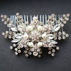 Pearl & Rhinestone Bridal Hair Accessories Vintage by luxedeluxe