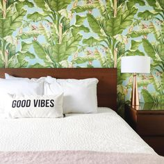 GOOD VIBES *only* - palm leaf wall paper. Good Vibes Only, Bed Pillows, Pillow Cases, Palm, Interior Design, Wallpaper, Instagram Posts, Pattern, Life