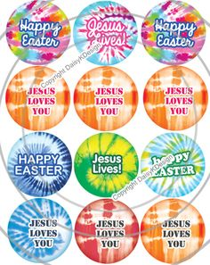 Tie Dye Bottle Cap Images for Easter Kids Crafts and Jewelry