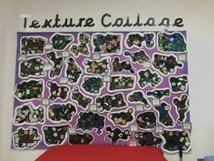 EYFS Texture Collage display - describing different textures Different Textures, Eyfs, Collage, Nursery, Classroom, Shapes, Display, Colors, Creative
