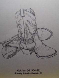 KICK 'EM OFF BOOTS Cowboy Western Mostly Animals UM Rubber Stamp RARE Retired