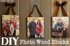 DIY Wood Picture Blocks, easy mod podge, wood and ribbon - SohoSonnet Creative Living