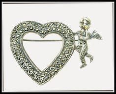 Heart Brooch of Sterling Silver Marcasite by serendipitytreasure