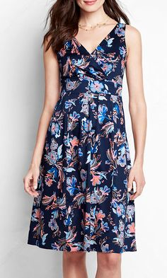 Women's Sleeveless Pattern Stretch Sateen V-neck Fit and Flare Dress from Lands' End $40 reg, petite - $50 plus