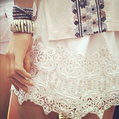Love the white lace skirt and the CM Bonnie Bracelet
