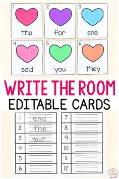 Free printable Valentine's Day write the room activity with editable cards! A fun editable sight word learning activity for kindergarten and first grade literacy centers. activities Editable Valentine's Day Sight Word Write the Room Sight Words, Teaching First Grade, Valentines Day Activities, Kindergarten Teachers, Kindergarten Activities, Word Work, Free Printable, Printable Valentine, Indoor Activities