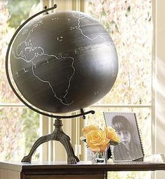 Planet Earth Chalkboard On Stand