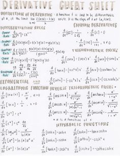 """oculusrepairo: """" A scanned copy of my complete list of derivatives. My professor offered this bonus assignment and told us the best one would receive a I was really going for that """" Calculus Notes, Ap Calculus, Math Notes, Differential Calculus, College Notes, School Notes, School Organization Notes, Physics And Mathematics, Blog Planner"""