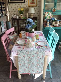 Pastel dining room chairs