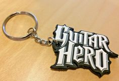 Official Guitar Hero Logo Style / Red Octane Promotional Rubberized Keychain Fob #RedOctane #GuitarHero #Activision #Keychain #Videogames #XBOX #PS3 #NintendoWii