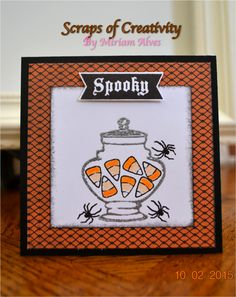 """Halloween card with CTMH Nevermore paper packet and """"Pumpkin Chevron"""" stamp set"""