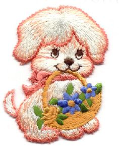 PUPPY WITH BASKET OF FLOWERS IRON ON APPLIQUE