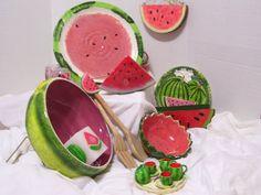 Watermelon  Salt and Pepper / Miniature Tea Set by ARubyInTheRough