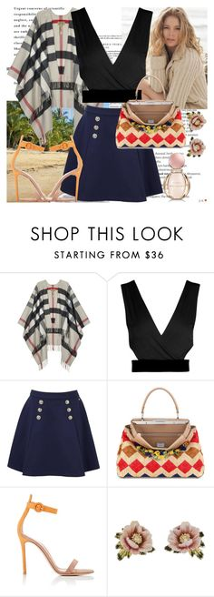 """""""Resort"""" by raincheck ❤ liked on Polyvore featuring Balmain, Repeat Cashmere, Burberry, Tommy Hilfiger, Fendi, Gianvito Rossi, Les Néréides and Bulgari"""