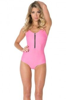 2691316bc6 Pink Scoop Neck Zip Up Front Sexy Swimsuit Retro One Piece Swimsuits